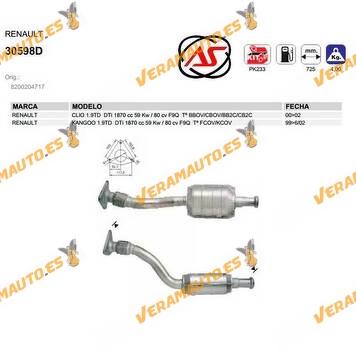 catalizador especifico renault clio kangoo 1.9TD DTi 1870 cc 59 Kw 80 cv F9Q SIMILAR A 8200204717