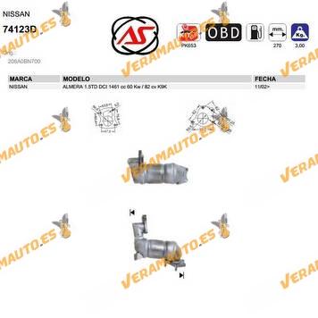 Catalizador Especifico Nissan Almera 1.5TD DCI 1461 cc 60 Kw 82 cv K9K DE 2002 EN ADELANTE SIMILAR A 208A0BN700