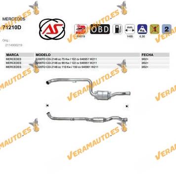 Catalizador Especifico Mercedes W211 E200td CDi 2148 cc OEM Similar a 2114900219