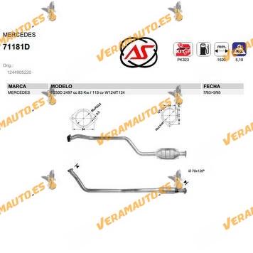 Catalizador Específico Mercedes W124 | T124 | E250D | 2497 cc | 83 Kw | 113cv de 1993 a 1995 OEM Similar a 1244905220