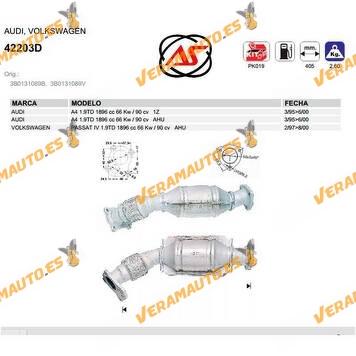 Catalizador Especifico Audi A4, Volkswagen Passat 1.9TD 1896 CC 66 Kw 1Z, AHU DE 1995 AL 2000 SIMILAR A 3B0131089B, 3B0131089V