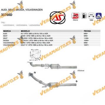 Catalizador Específico Audi | Seat | Skoda | Volkswagen | 1.9TDi 1896 cc 66 Kw / 90 cv | Agr |OEM Similar a 1J0253058HV