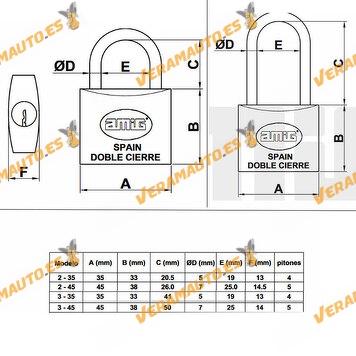 Candado De Latón Con Arco Tratado De Acero Arco Largo y Corto Incluye Dos Llaves Doble Cierre