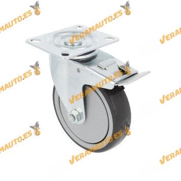 Rueda Con Freno | Modelo 23039 | Polipropileno Rodeado De Caucho Termoplástico | 110 kg de carga | 100 mm x 32 mm