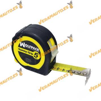 Metro | Flexómetro Magnético con Doble Freno | WOLFPACK | 5 Metros | Cinta de  25 mm | Ergonómico Carcasa Bimaterial