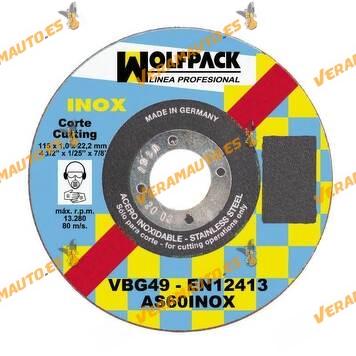 Disco INOX WOLFPACK de Corte Abrasivo para Amoladora | Corte Fino de 1,0 mm Acero Inoxidable