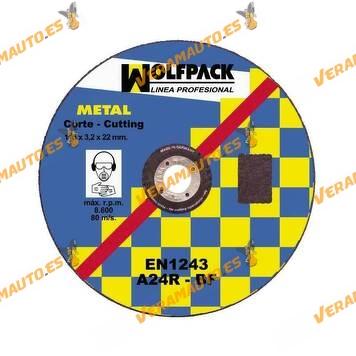 Disco WOLFPACK de Corte Abrasivo para Amoladora | Corte Hierro | Metal de 3,2 mm