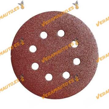 Discos de Lija con soporte de Velcro de 125 mm de diámetro WOLFPACK con Agujeros | Grano 40 | 10 Piezas | Lijadoras Circulares