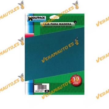 Lija de Mano para Lijado y Acabado de Madera | Yeso | Escayola | Grano 40 | WOLFPACK | Set de 10 Pliegos de 28 x 23 cm