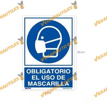 Placa | Cartel | Señalización | Prevención | Uso Obligatorio Mascarilla | Plástico | Uso Interior o Exterior | Pared