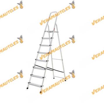 ORYX 8-step folding aluminum ladder | 156 cm base height | Aluminum with reinforced internal structure
