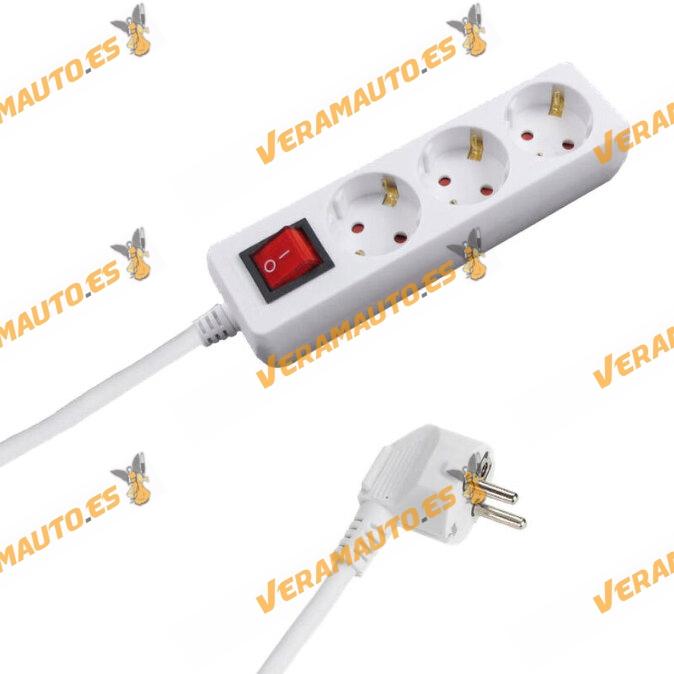 Base Múltiple con Interruptor y 3 | 6 Tomas | Color blanco | Longitud de 1,5 metros | Sección de Cable de 3x1,0 mm y 3.400 w
