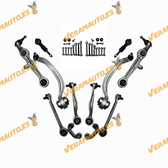 Suspension Arm Kit for Audi A4 from 2000 to 2004 | Arms Tie Rod Arms and Screws | Right and left