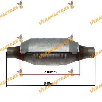 Catalizador Universal Adaptable Redondo Con Protección Calorifica Normativa Euro IV Largo 340mm