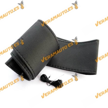 Case   Universal Steering Wheel Cover 37-38 cm   Microfiber and Synthetic Leather with Needle and Thread
