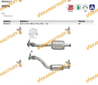 CATALIZADOR ESPECIFICO RENAULT CLIO 1.4i 16V 1390 cc 72 Kw / 98 cv K4J 1998 EN ADELANTE SIMILAR A 7700433035
